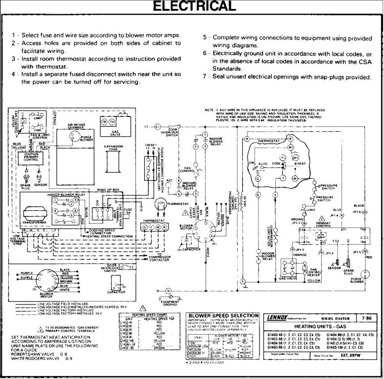 GSR 14Q electrical wiring Lennox Pulse Furnace Troubleshooting